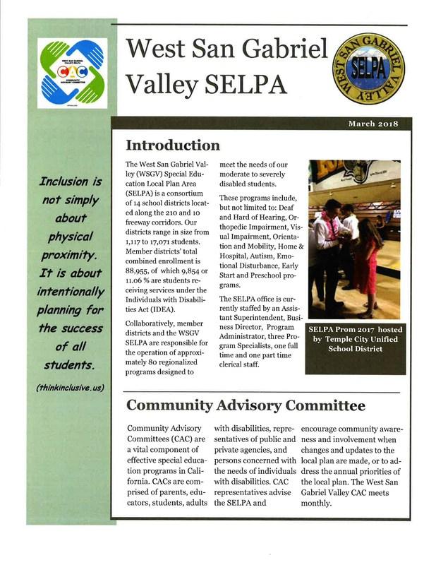 2018 SELPA Newletter