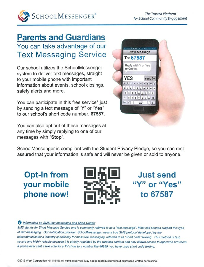page explaining opt in to receive text messages