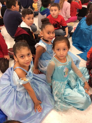Students dressed as princesses.