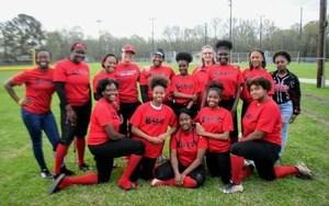 A team photo of the Baker High Lady Buffs Softball team