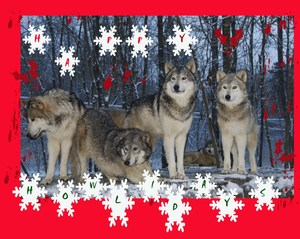 Several Wolves with snowflakes falling and the words Happy Howlidays!