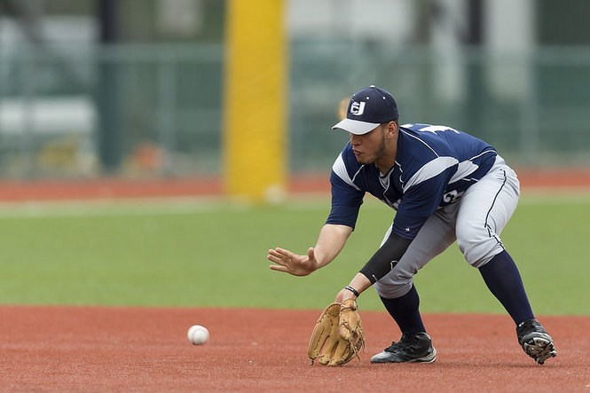 player catching ball on base