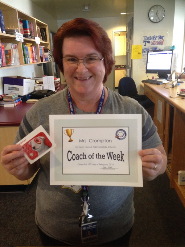 This week's Coach of the Week, Mrs. Cromoton! Featured Photo