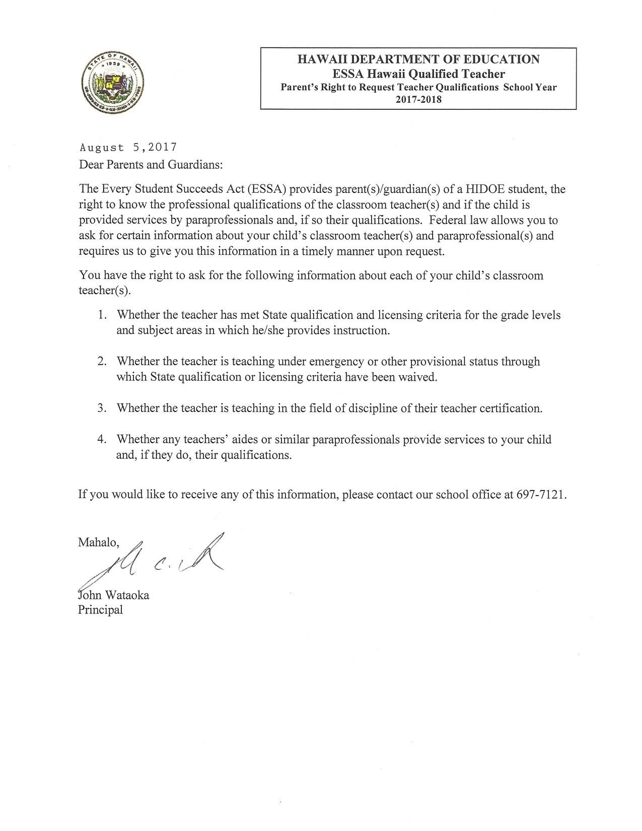 Essa ParentS Right To Request Teacher Qualifications For School