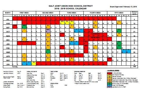 2018-2019 School District Calendar Thumbnail Image