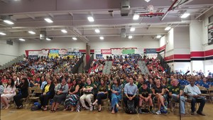 Jack O'Connell, a former California superintendent of schools, legislator and teacher, delivered inspiring remarks to more than 1,800 teachers, administrators and staff of Baldwin Park Unified at a back-to-school event on Aug. 8 at Sierra Vista High School.
