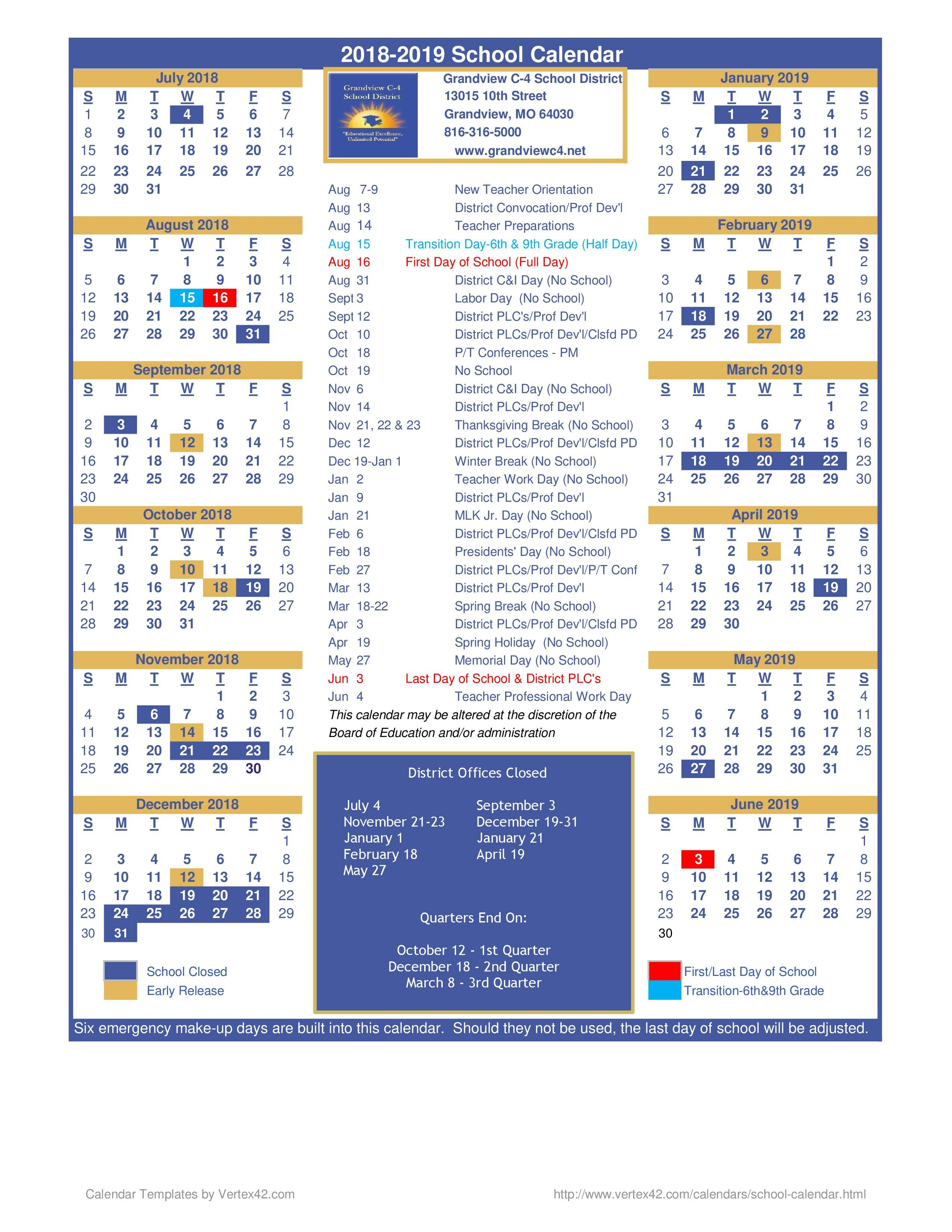 District Calendar District Calendar Grandview C 4 School District