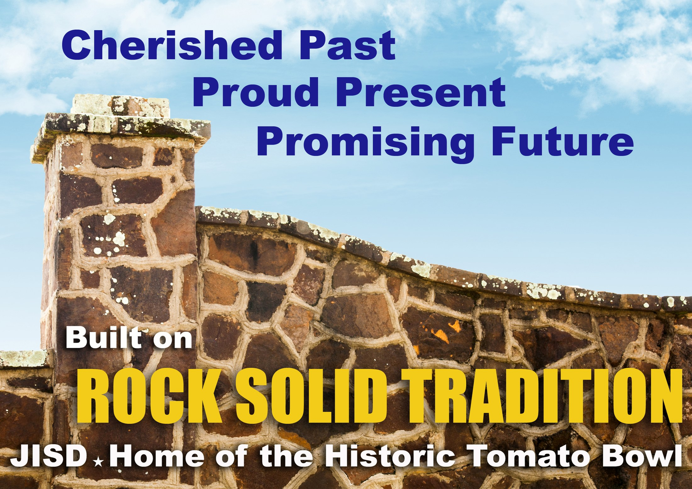 rock solid tradition sign with the tomato bowl wall