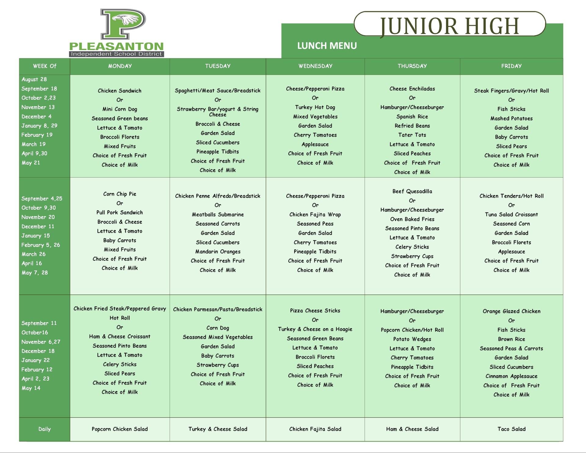 JH lunch menu
