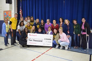 Northeast teachers are pictured with the $10,000 check.