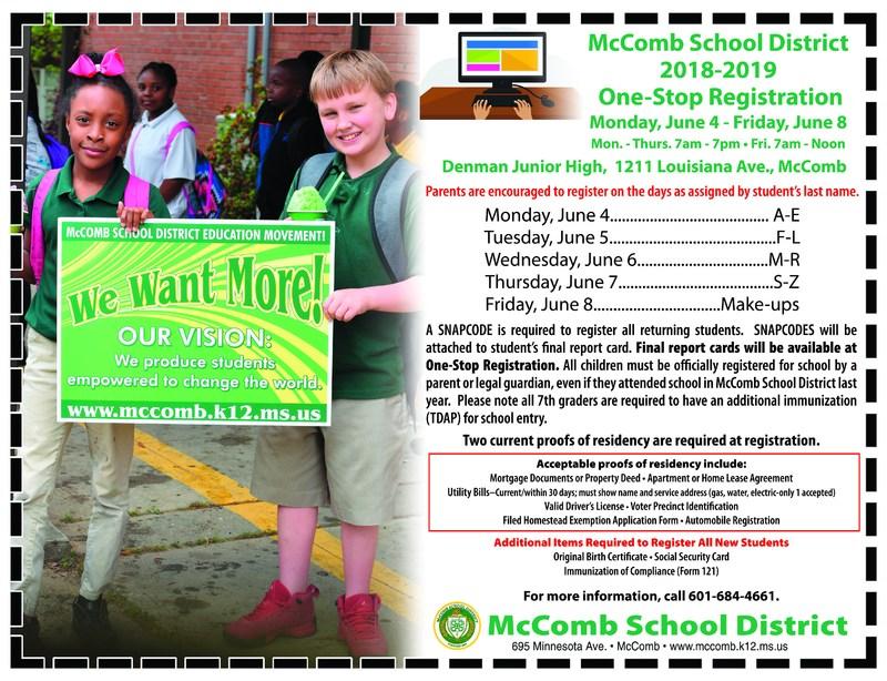 McComb School District 2018-2019 One-Stop Registration