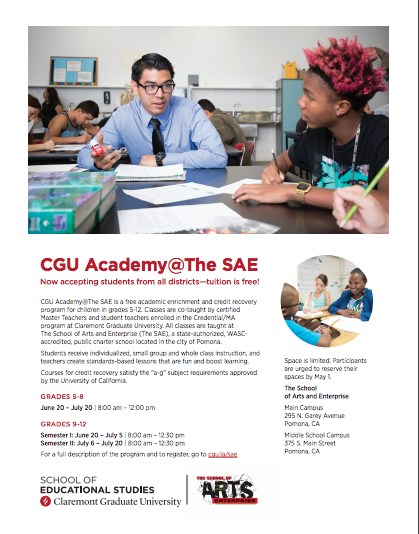CGU Academy@The SAE Now accepting students from all districts—tuition is free! Featured Photo