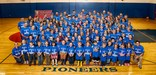 picture of the PreK-12 students and staff in blue Ten Sleep Pioneer shirts