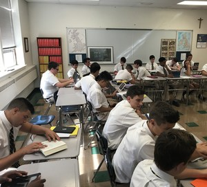 Seniors sitting in class.