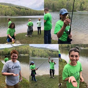 sixth grade students at the trout release