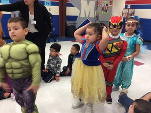 Students walking in character parade.