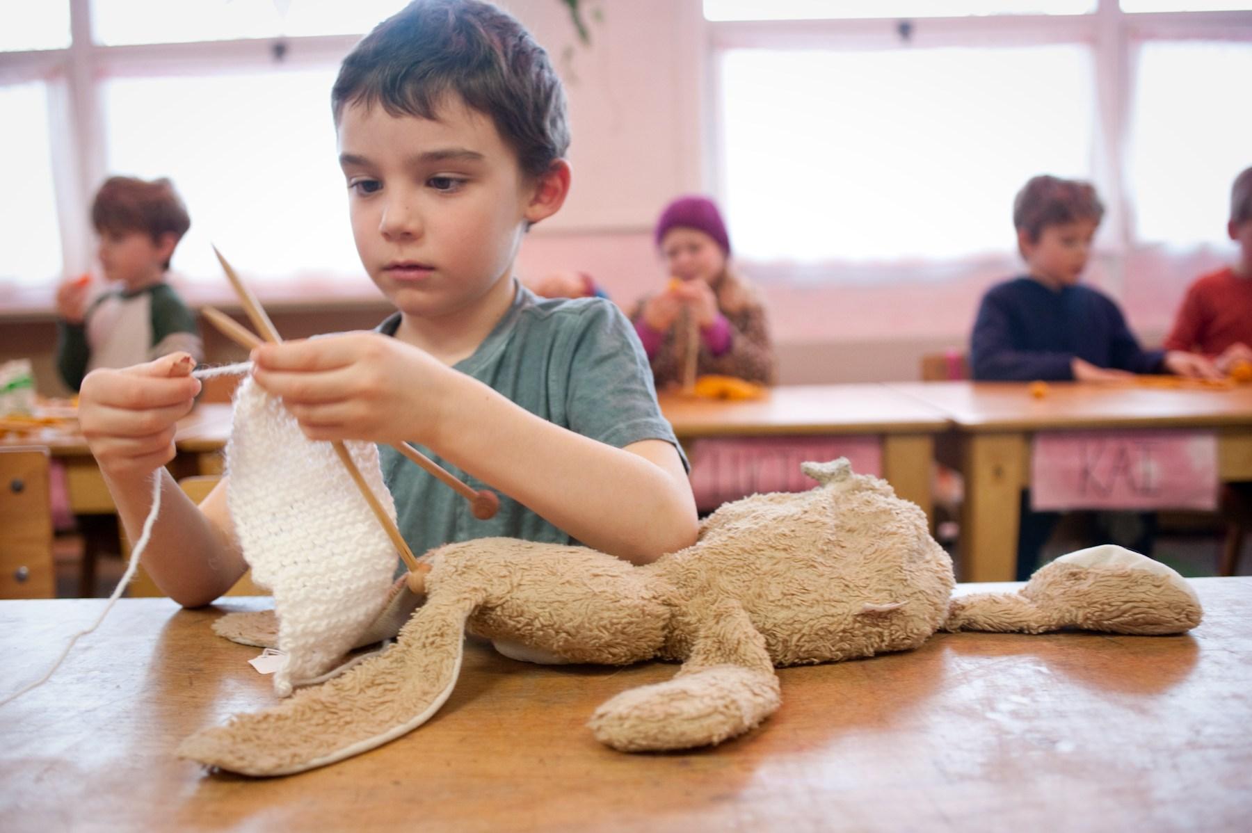 Liam S knitting