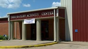 Front of Theo Ratliff Activity Center with Welcome Theo sign