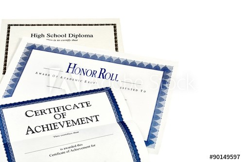Stack of certificates.