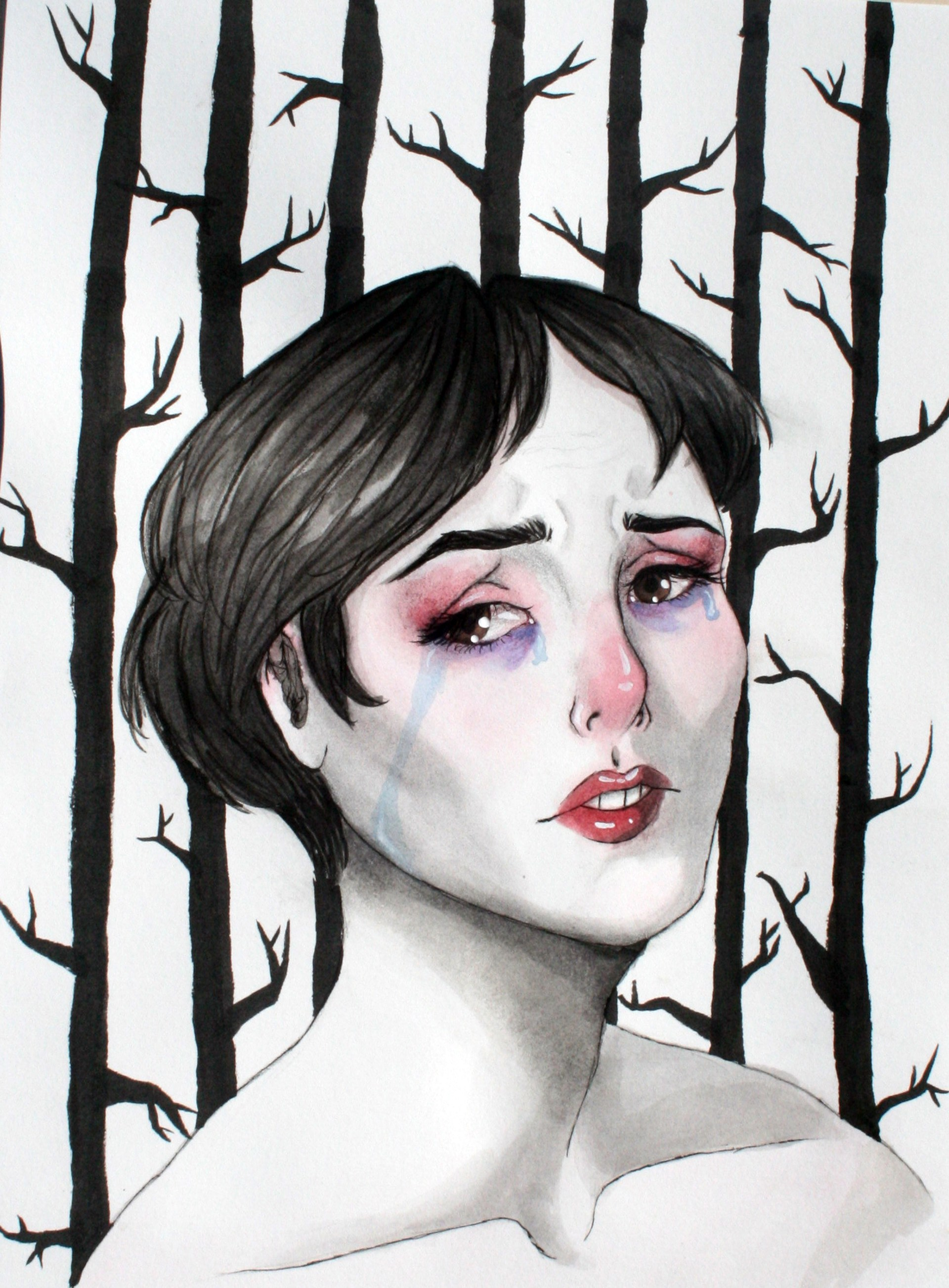 painting of a girl and trees