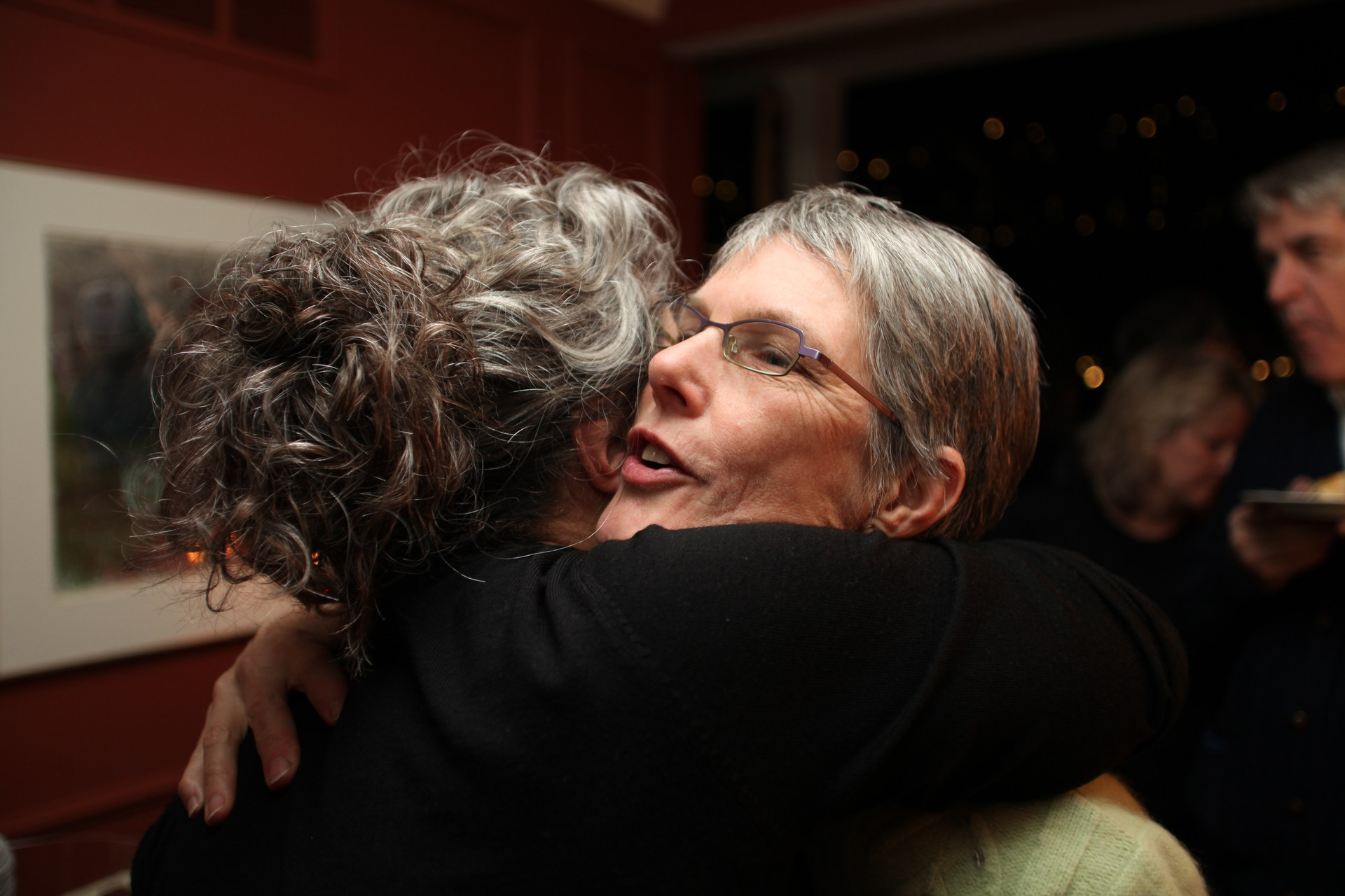 Two parents hugging