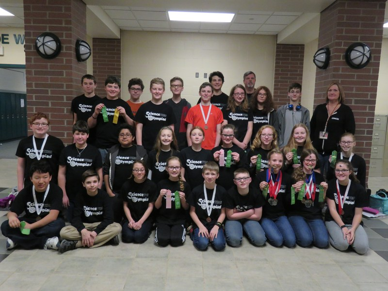 Members of the TK Middle School Science Olympiad team earn awards.