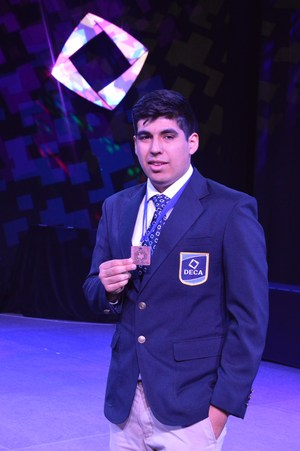 Angel Perez was among the top 12 finalists at the state DECA competition.