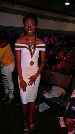Image of Tessie Dade, Bronze medal winner in teh ACT-SO competition sponsored by the NAACP.