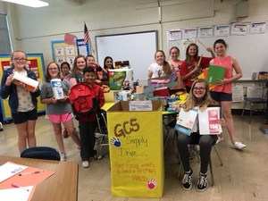 Students collect school supplies