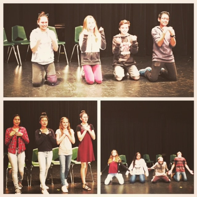 Theater students on stage.