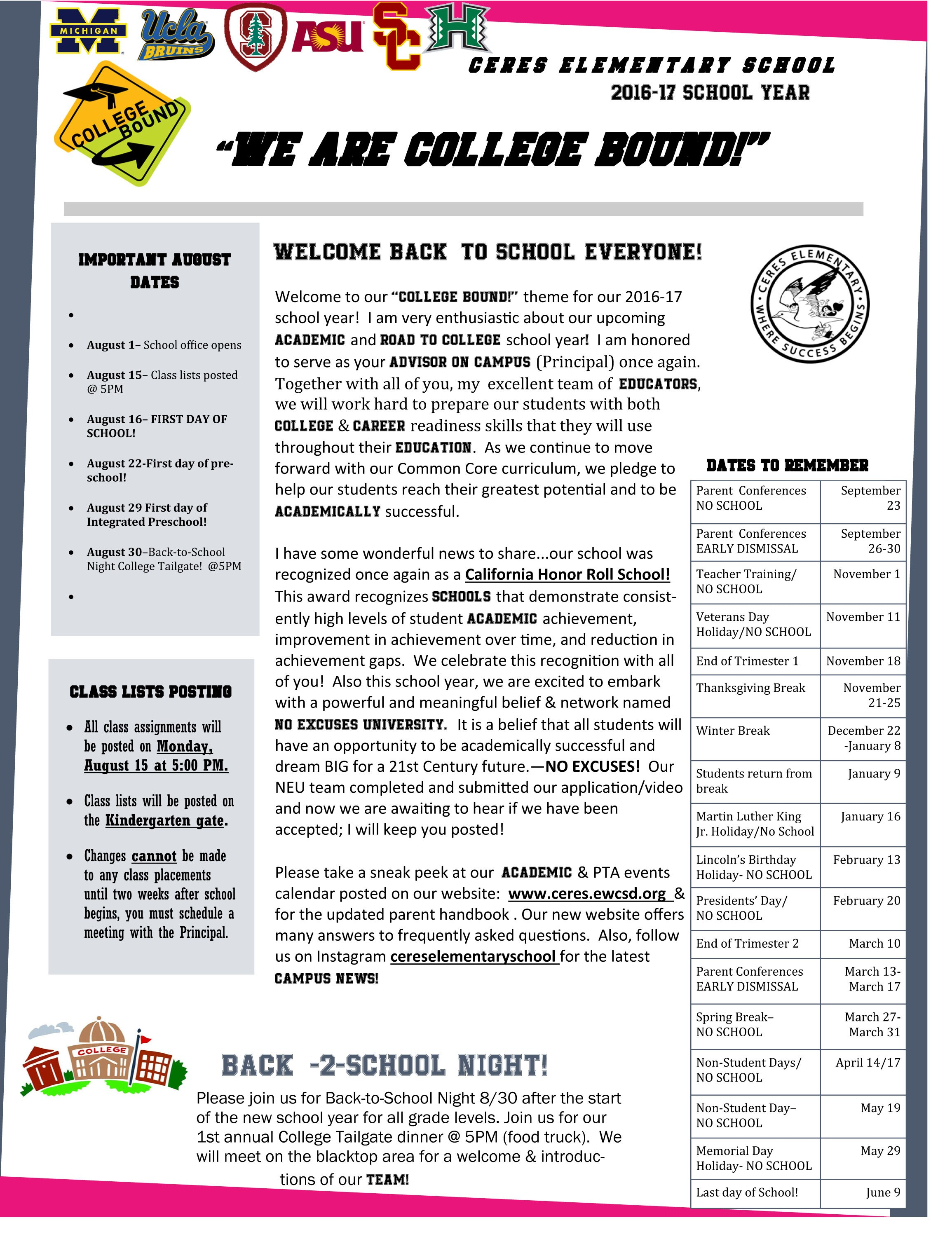 Page 1 of the principal's newsletter in English