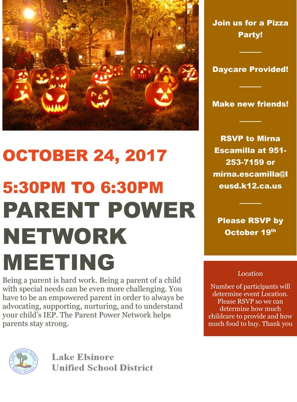 Parent Power Network meeting advertisement for October 24, 2017, at 5:30 p..m. TBA