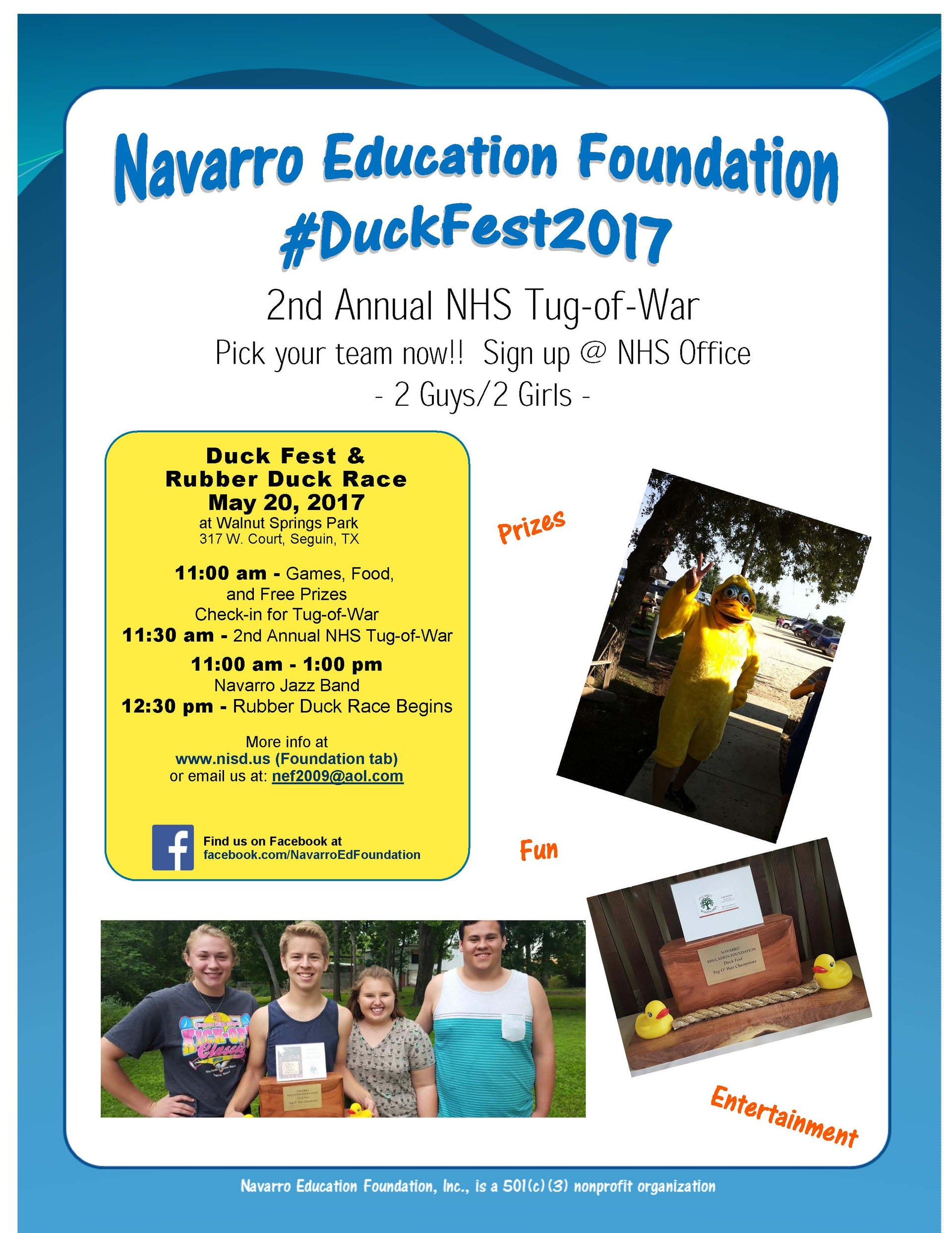 Picture of poster advertising the HS Tug of War at Duckfest.
