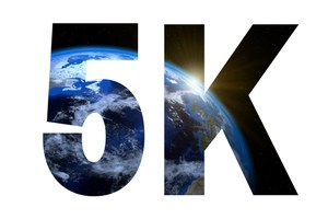 5K logo with earth in title