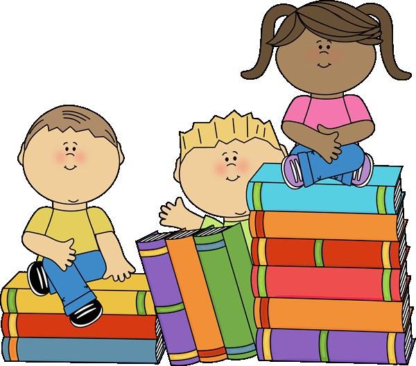 kids sitting on books clip art