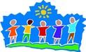 Clip art of kids holding hands.