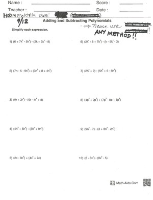 Printables Adding Subtracting Polynomials Worksheet clayton valley charter high school homework due 9 12 2014 jpg adding and subtracting polynomials worksheet