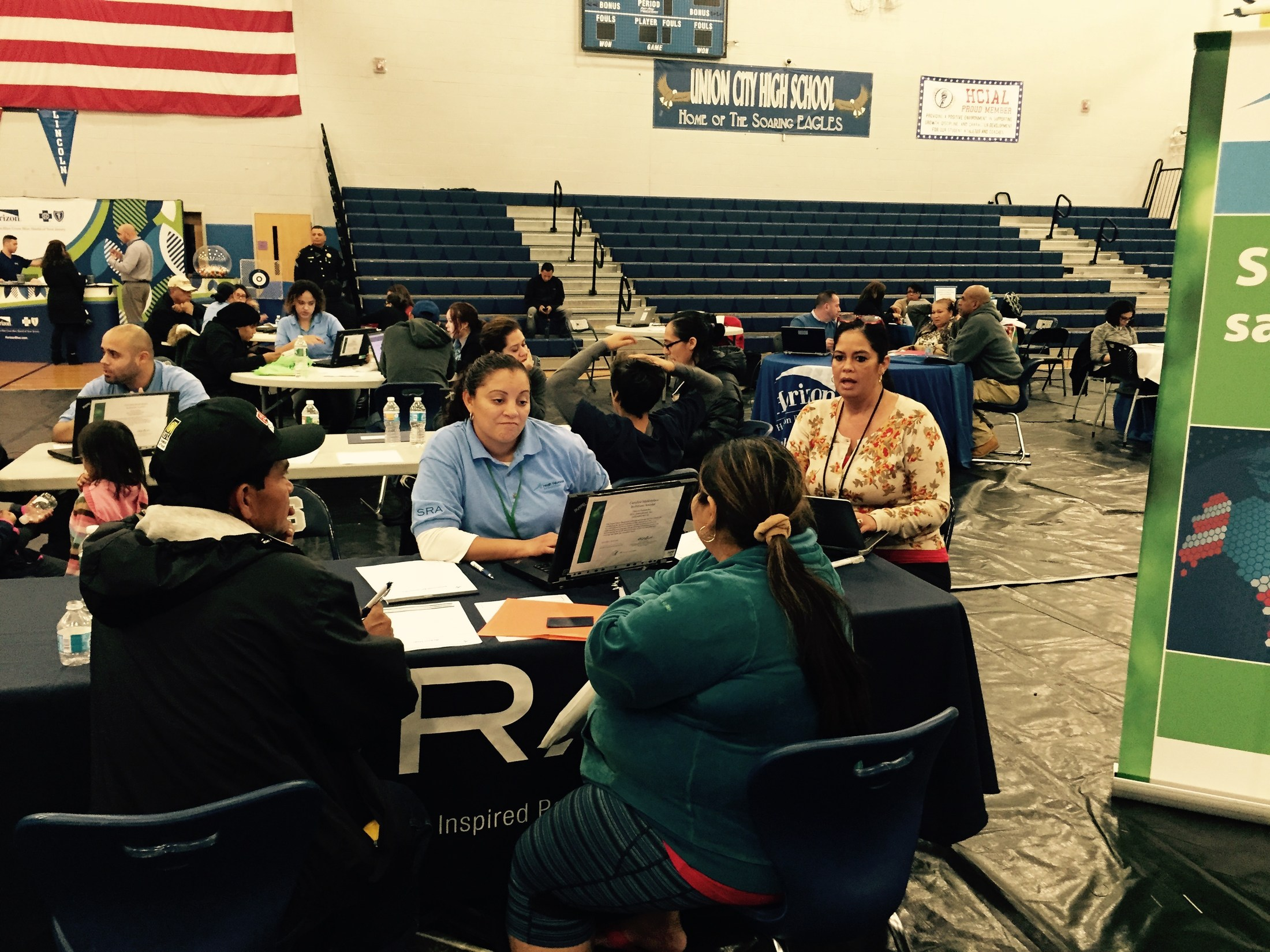 Health Care Representatives talking to Union City Parents