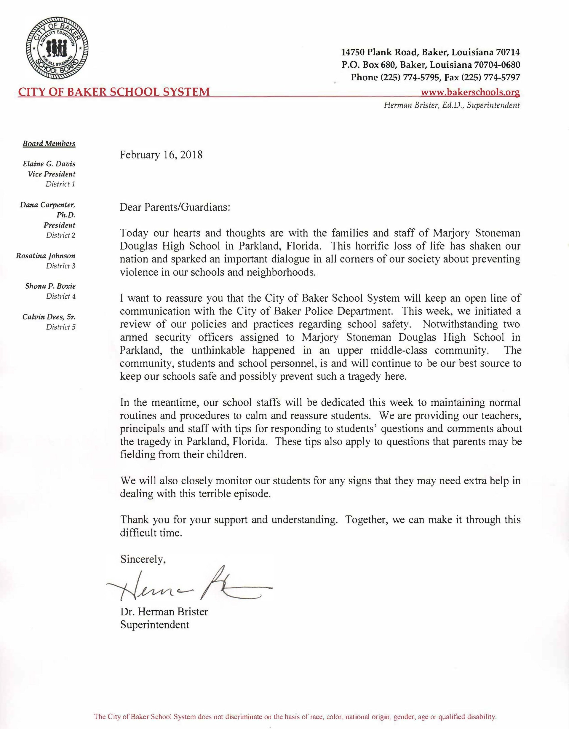 Letter of Assurance from Superintendent Brister