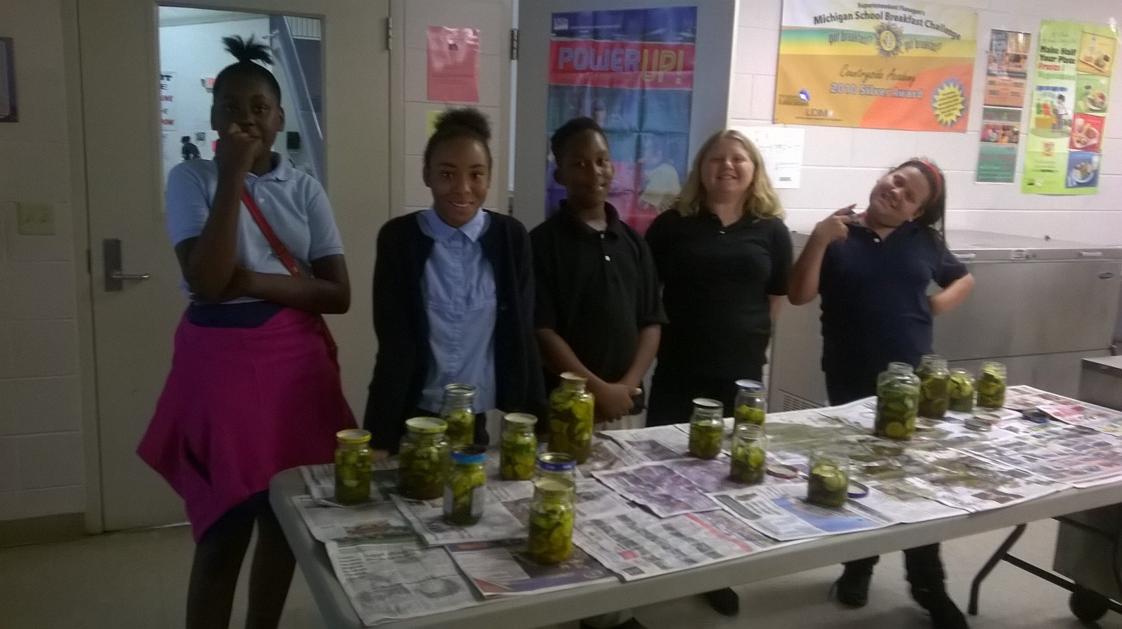Students with completed pickle project