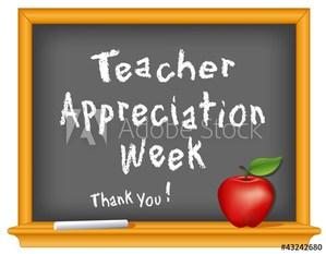 Teacher Appreciation on black board