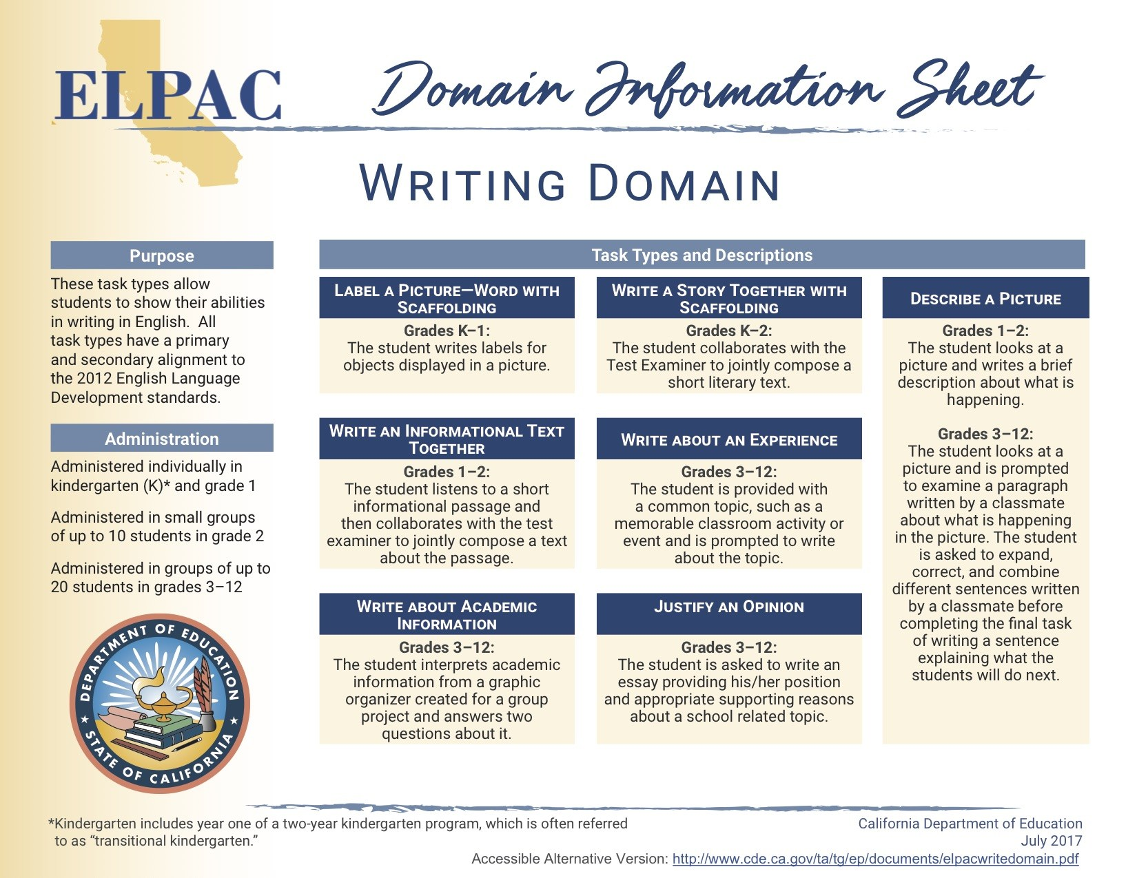 ELPAC Writing Domain Information Sheet