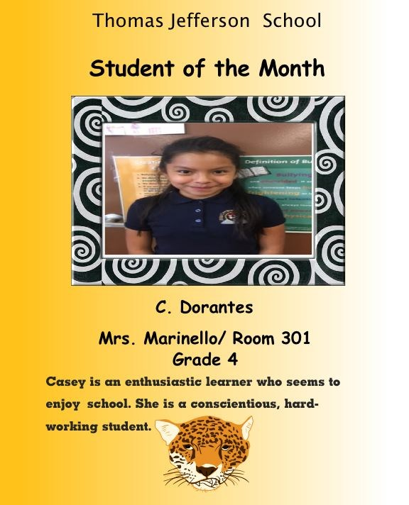 grade 4 student of the month for September