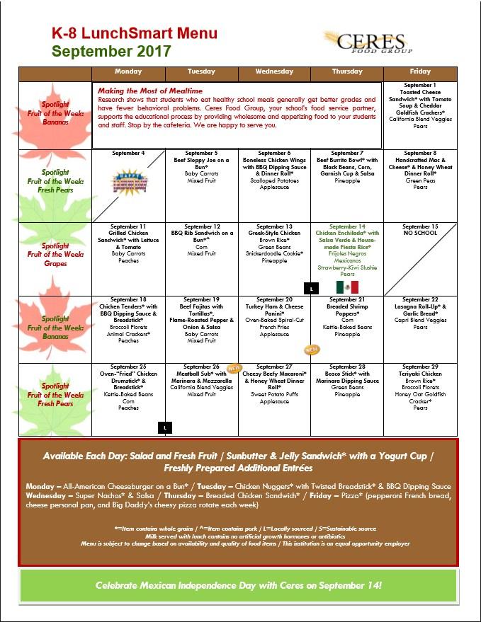 K - 8 Lunch Menu for September