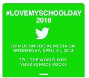 Love My School Day is Wednesday, April 11, 2018.  Educators across the country are sharing all the wonderful things that their schools are doing to help all kids reach their potential.  All you have to do is share your message with the hashtag #LoveMySchoolDay, and be a part of a movement that will celebrate the great things that schools are doing for kids around the world!
