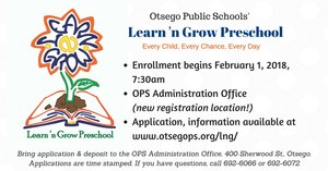Learn 'n Grow preschool enrollment graphic to show it starts on February 1st, 7:30am. Same details in story text.