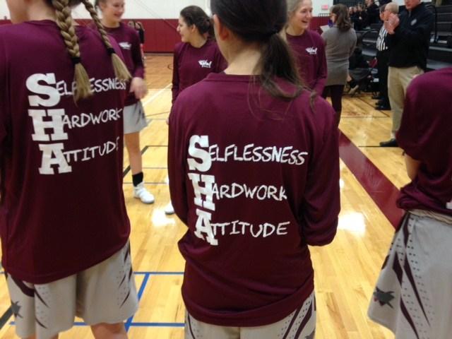 back of t-shirt Selflessness, Hardwork, Attitude