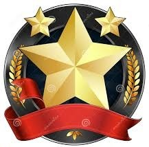 a graphic representing achievement with gold stars and red ribbon