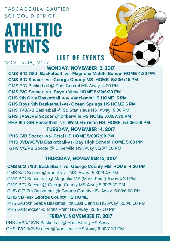 Athletic Events for Week of November 13, 2017