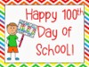 child holding 100th day of school sign.